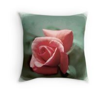 Digitally enhanced orange rose flower with green foliage background  Throw Pillow
