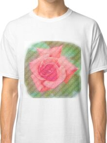 Digitally enhanced orange rose flower with green foliage background  Classic T-Shirt