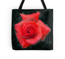 Digitally enhanced orange rose flower with green foliage background  Tote Bag