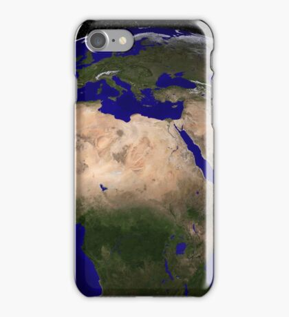 Global view of Earth over North Africa, Europe, the Middle East, and India. iPhone Case/Skin