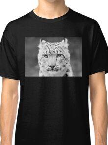 Snow Leopard Portrait Black and White Classic T-Shirt