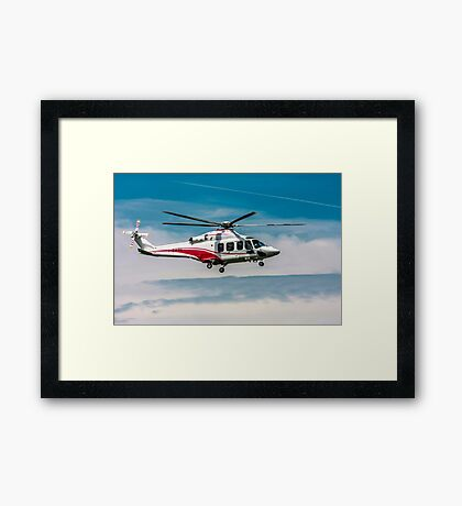 Privately owned Agusta A109E Power helicopter I-EASG Framed Print