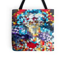 polygons pattern blue red yellow Tote Bag