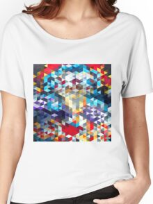 polygons pattern blue red yellow Women's Relaxed Fit T-Shirt