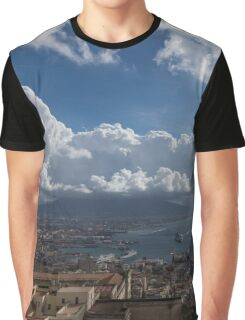 Naples Italy Aerial Perspective - Dramatic Clouds Over the Harbor Graphic T-Shirt