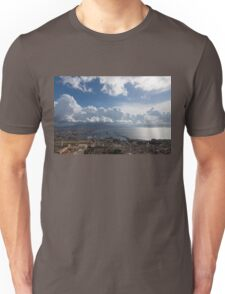 Naples Italy Aerial Perspective - Dramatic Clouds Over the Harbor Unisex T-Shirt