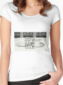 Make tea not war, typography on tea cup photograph Women's Fitted Scoop T-Shirt