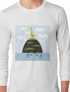 Giraffe on the island Long Sleeve T-Shirt