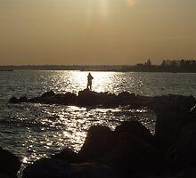 sunset and yoga in stonington borough 3 by Maureen Zaharie