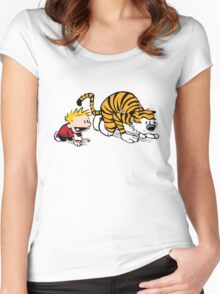 Calvin Hobbes -sprinter runner Women's Fitted Scoop T-Shirt