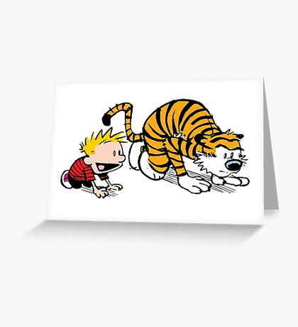 Calvin Hobbes -sprinter runner Greeting Card