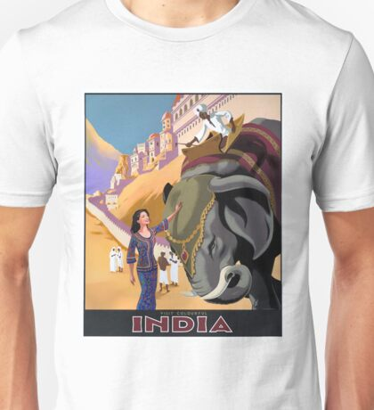 INDIA; Vintage Travel and Tourism Advertising Print Unisex T-Shirt