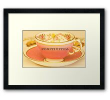 Positivitea, typography on classic tea cup print Framed Print