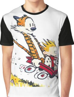Calvin Hobbes - wagon cart races Graphic T-Shirt