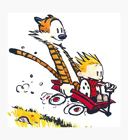 Calvin Hobbes - wagon cart races Photographic Print