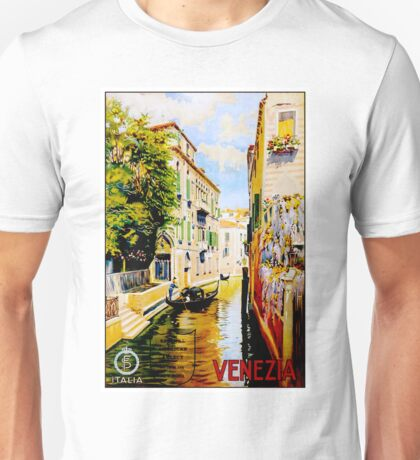 VENICE CANALS; Vintage Travel Advertising Print Unisex T-Shirt