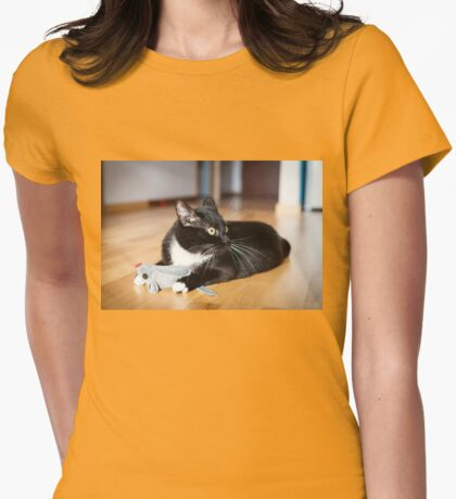 Cat playing with mouse-toy Womens Fitted T-Shirt