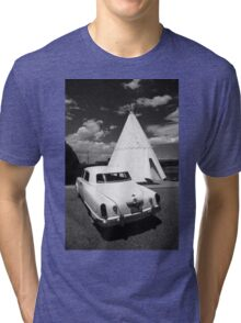 Route 66 Wigwam Motel and Classic Car Tri-blend T-Shirt