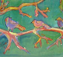 Sparrows on a limb by soularts