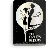 Gatsby Girl Flapper The Cat's Meow (black, silver & pearl) Metal Print