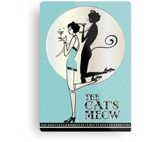 Gatsby Girl Flapper The Cat's Meow (blue and silver) Metal Print