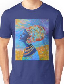 Black Woman Afro Africa African People Painting Blue Yellow Unisex T-Shirt