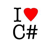 I love C# I love see sharp heart ny parody Photographic Print