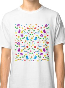 Cute birds and flowers pattern Classic T-Shirt