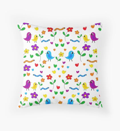 Cute birds and flowers pattern Throw Pillow