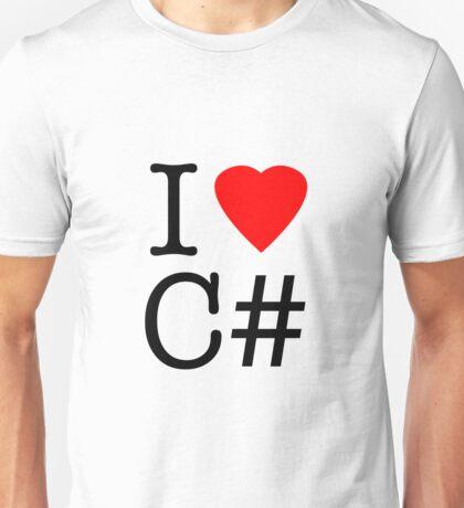 I love C# I love see sharp heart ny parody Unisex T-Shirt