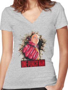 One Punch Man Crash Wall Women's Fitted V-Neck T-Shirt
