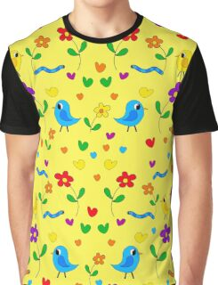 Cute birds and flowers pattern - yellow Graphic T-Shirt