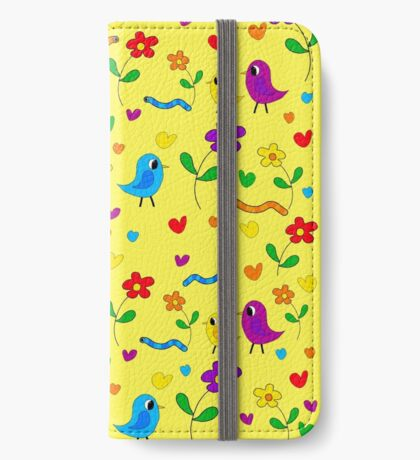 Cute birds and flowers pattern - yellow iPhone Wallet/Case/Skin
