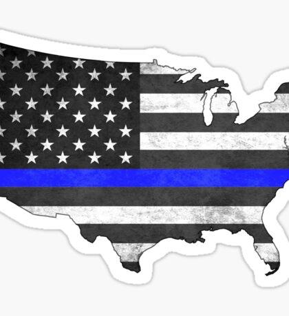 United States Silhouette Thin Blue Line Sticker