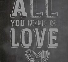 The Beatles All You Need is Love Typography by geekchicprints