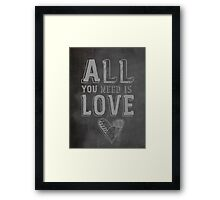 The Beatles All You Need is Love Typography Framed Print