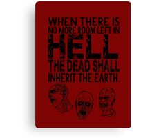 Dawn of the Dead Zombies Typography Canvas Print