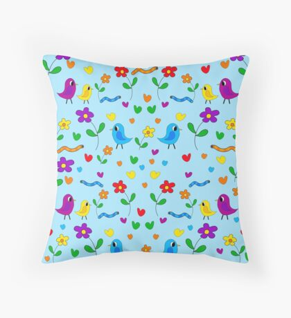 Blue cute birds and flowers pattern Throw Pillow