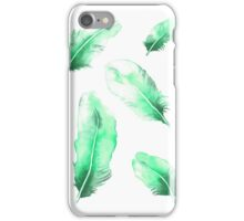 Emerald Feathers Watercolor iPhone Case/Skin