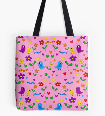 Pink cute birds and flowers pattern Tote Bag