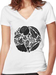 Nature fantasy world, Linocut art Women's Fitted V-Neck T-Shirt