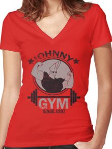 Johnny Gym Women's Fitted V-Neck T-Shirt