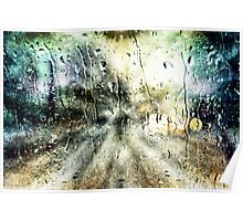 Rainy Night Surreal Landscape Abstract Poster