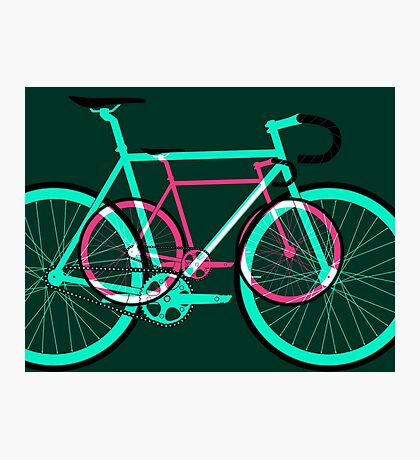 Fixed Gear Road Bikes – Green and Pink Photographic Print