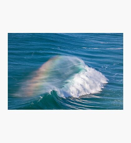 Giant Ocean Wave with Rainbow in Spray Photographic Print