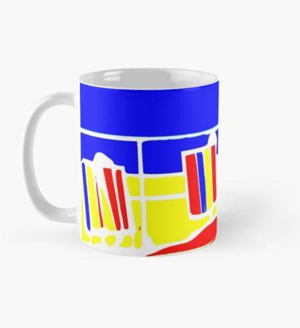 primary colour seaside deckchairs motif Mug