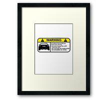 Subaru BRZ Warning Sticker Framed Print