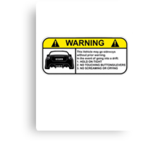 Subaru BRZ Warning Sticker Canvas Print