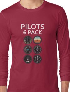 Pilots Six Pack Airplane Instruments Long Sleeve T-Shirt