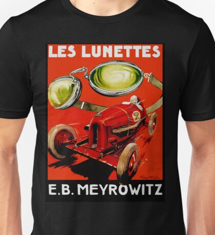 Vintage French optometrist advert, race car, goggles Unisex T-Shirt